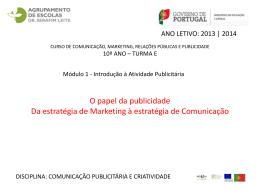 2.4 Da estratégia de Marketing à estratégia de Comunicação