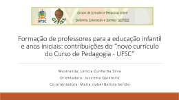Educação e Infância como eixo: contribuições do novo currículo do