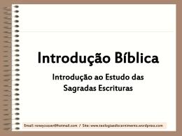 Introdução Bíblica – Prof. Roney Ricardo
