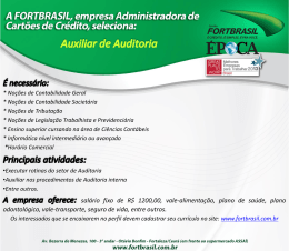 Aviso de vagas de Empregos FORTBRASIL AUXILIAR DE