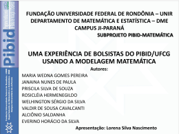 UNIVERSIDADE FEDERAL DE RONDONIA * UNIR