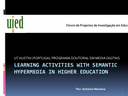 Learning Activities with Semantic Hypermedia in