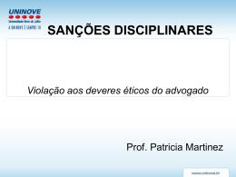 Aula 10 sanções disciplinares - Professora Patricia Martinez