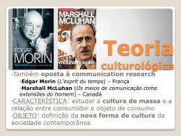 Acesse aqui slides sobre Teoria culturológica
