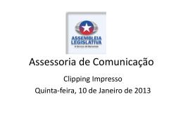 Clipping de Notícias 10/01/2013