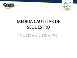 MEDIDA CAUTELAR DE SEQUESTRO