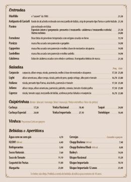 1900 Pizzeria - Cardapio Salao