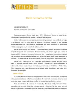 Carta de Machu Pichu - Encontro Internacional de Arquitetos - dezembro de 1977