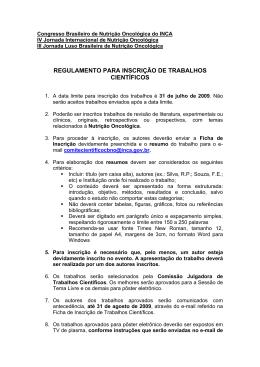 Congresso Brasileiro de Nutrição Oncológica do INCA