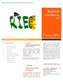Informativo 07 3 marzo 2014 - Red Internacional de Escuelas