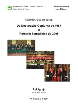 Relações luso-chinesas: Da Declaração Conjunta de 1987 à