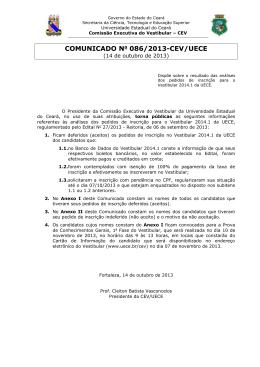COMUNICADO No 086/2013