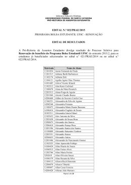Resultado do Edital 022 PRAE 2015 – Renovação Bolsa Estudantil