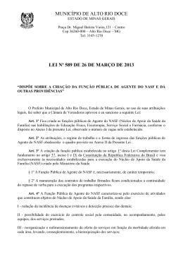 PROJETO DE LEI Nº - Prefeitura de Alto Rio Doce