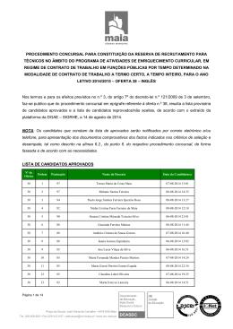 procedimento concursal para constituição da reserva de