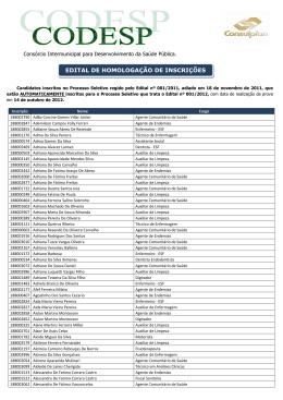edital de homologação de inscrição - inscritos 2011