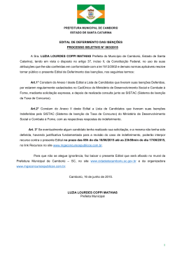edital de deferimento das isenções processo seletivo n° 003/2015