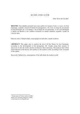 SR. JOSÉ, ATOR E AUTOR Aline Alves de Carvalho