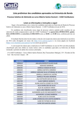 Lista preliminar dos candidatos aprovados na Entrevista de Renda
