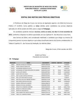 EDITAL DAS NOTAS DAS PROVAS OBJETIVAS