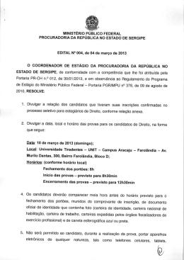 Edital 004/2013 - Procuradoria da República em Sergipe