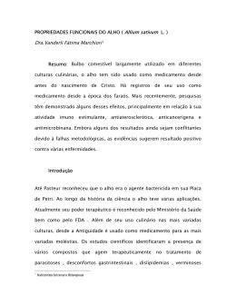 PROPRIEDADES FUNCIONAIS DO ALHO ( Allium sativum L
