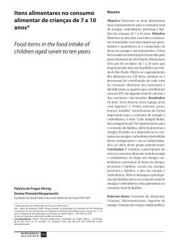 Itens alimentares no consumo alimentar de crianças de 7 a