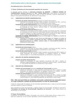 Informações sobre o ato de posse – Secretaria da