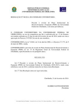 RESOLUÇÃO No 08/2014, DO CONSELHO UNIVERSITÁRIO