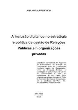 A inclusão digital como estratégia e política de gestão de Relações