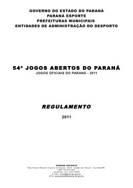 REGULAMENTO - Jogos Abertos do Paraná