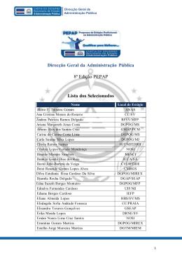 Direcção Geral da Administração Pública 8ª Edição PEPAP Lista