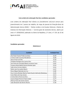 Lista unitária de ordenação final dos candidatos aprovados Lista