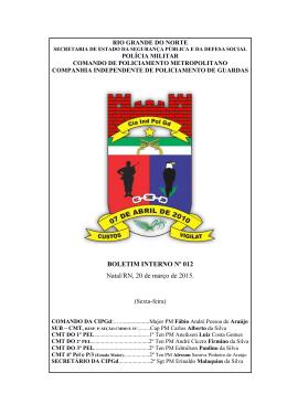 BOLETIM INTERNO Nº 012 Natal/RN, 20 de março de 2015.