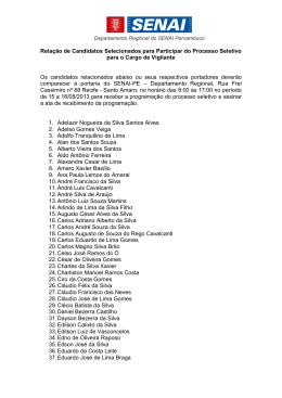Relação de Candidatos Selecionados para Participar do Processo