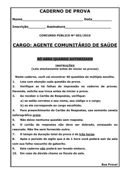 CADERNO DE PROVA CARGO: AGENTE COMUNITÁRIO