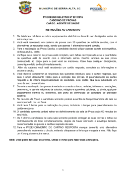 1 PROCESSO SELETIVO Nº 001/2015 CADERNO DE