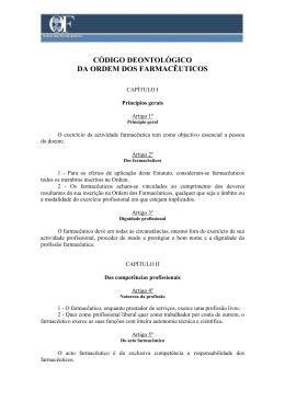 Código Deontológico da Ordem dos Farmacêutico