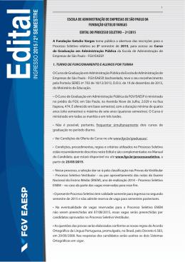Edital - Vestibular FGV - Fundação Getulio Vargas