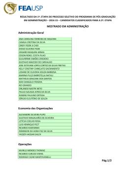 MESTRADO EM ADMINISTRAÇÃO Administração Geral Economia