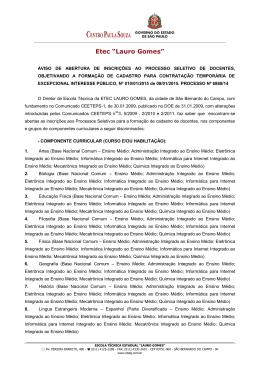 aviso de abertura de inscrições ao processo seletivo de docentes