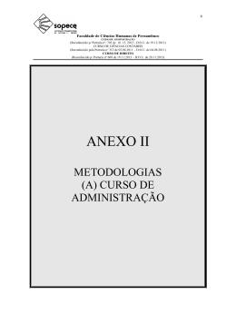 Anexo II A - Metodologia ADMINISTRAÇÃO