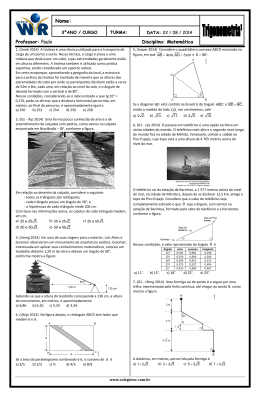 Professor: Paulo Disciplina: Matemática