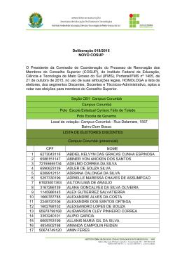 Deliberação 018/2015 – Homologa a lista de eleitores aptos