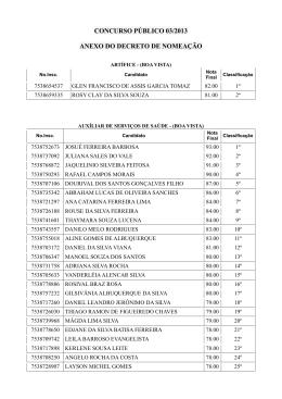 concurso público 03/2013 anexo do decreto de nomeação