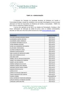 TEMFC 19 – HOMOLOGAÇÃO A Diretoria de Titulação