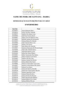 SAMU DE FEIRA DE SANTANA – BAHIA ENFERMEIRO
