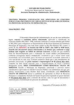 31ª convocação dos aprovados do concurso público de 2012.
