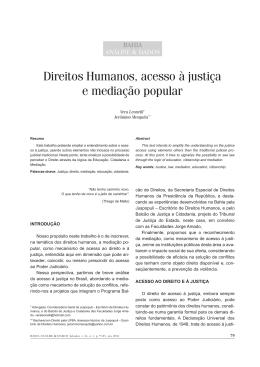 Direitos Humanos, acesso à justiça e mediação popular