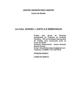 CULTURA, ACESSO À JUSTIÇA E DEMOCRACIA